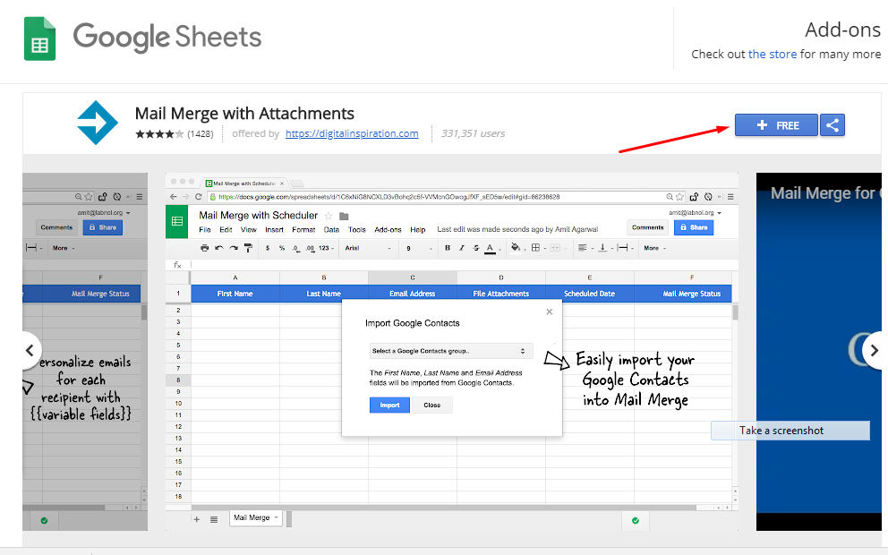 Mail Merge in Gmail google add-on