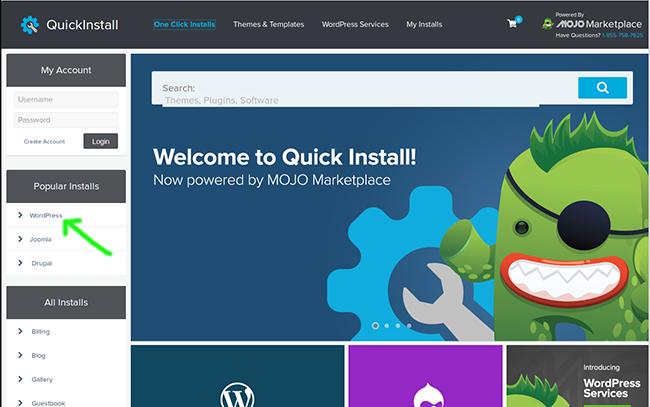 To install WordPress using QuickInstall on Hostgator